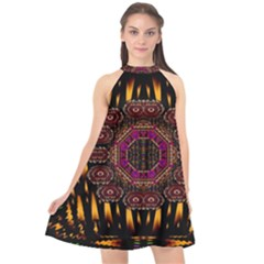 A Flaming Star Is Born On The  Metal Sky Halter Neckline Chiffon Dress  by pepitasart