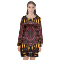 A Flaming Star Is Born On The  Metal Sky Long Sleeve Chiffon Shift Dress  by pepitasart