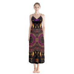 A Flaming Star Is Born On The  Metal Sky Button Up Chiffon Maxi Dress by pepitasart