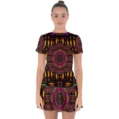 A Flaming Star Is Born On The  Metal Sky Drop Hem Mini Chiffon Dress by pepitasart