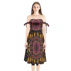 A Flaming Star Is Born On The  Metal Sky Shoulder Tie Bardot Midi Dress by pepitasart