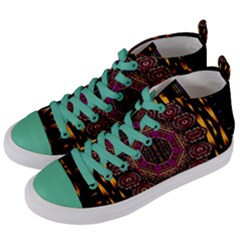 A Flaming Star Is Born On The  Metal Sky Women s Mid Top Canvas Sneakers by pepitasart