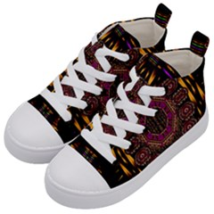 A Flaming Star Is Born On The  Metal Sky Kid s Mid Top Canvas Sneakers by pepitasart