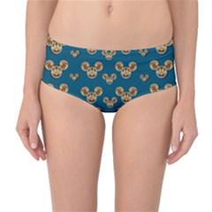 Cartoon Animals In Gold And Silver Gift Decorations Mid Waist Bikini Bottoms by pepitasart