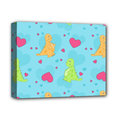 Dinosaur Love Pattern Deluxe Canvas 14  X 11  by allthingseveryday