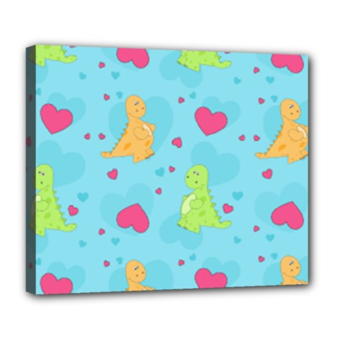 Dinosaur Love Pattern Deluxe Canvas 24  X 20