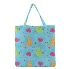 Dinosaur Love Pattern Grocery Tote Bag by allthingseveryday