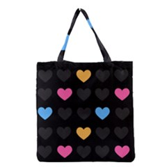 Emo Heart Pattern Grocery Tote Bag by allthingseveryday