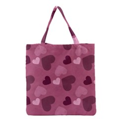 Mauve Valentine Heart Pattern Grocery Tote Bag by allthingseveryday