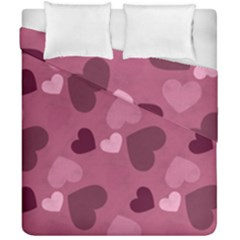 Mauve Valentine Heart Pattern Duvet Cover Double Side (california King Size) by allthingseveryday