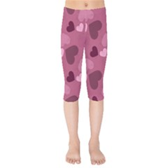 Mauve Valentine Heart Pattern Kids  Capri Leggings  by allthingseveryday