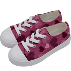 Mauve Valentine Heart Pattern Kids  Low Top Canvas Sneakers by allthingseveryday