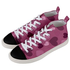 Mauve Valentine Heart Pattern Men s Mid Top Canvas Sneakers by allthingseveryday