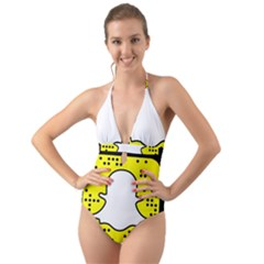 Add Me Halter Cut-out One Piece Swimsuit by TREVION