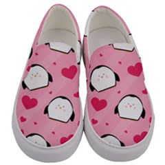 Penguin Love Pattern Men s Canvas Slip Ons