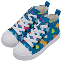 Robot Love Pattern Kid s Mid Top Canvas Sneakers by allthingseveryday