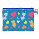Robot Love Pattern Canvas Cosmetic Bag (XL) View2