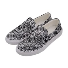 Black And White Ornate Pattern Women s Canvas Slip Ons by dflcprints
