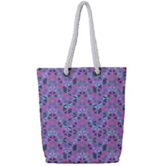 Sacred Geometry Pattern 2 Full Print Rope Handle Tote (small) by Cveti