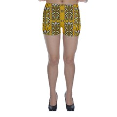 Rain Showers In The Rain Forest Of Bloom And Decorative Liana Skinny Shorts by pepitasart