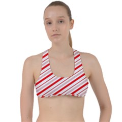 Candy Cane Stripes Criss Cross Racerback Sports Bra