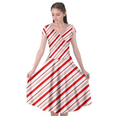 Candy Cane Stripes Cap Sleeve Wrap Front Dress
