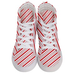 Candy Cane Stripes Women s Hi Top Skate Sneakers