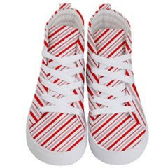 Candy Cane Stripes Kid s Hi Top Skate Sneakers