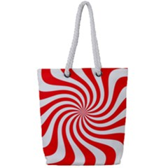 Peppermint Candy Full Print Rope Handle Tote (small)