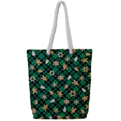 Gingerbread Green Full Print Rope Handle Tote (small)