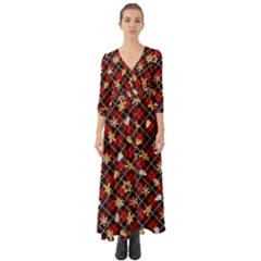 Gingerbread Red Button Up Boho Maxi Dress