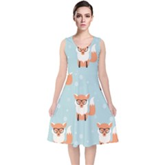 Cute Fox Pattern V Neck Midi Sleeveless Dress