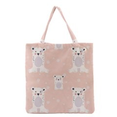 Cute Polar Bear Pattern Grocery Tote Bag by allthingseveryday