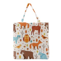 Woodland Friends Pattern Grocery Tote Bag by allthingseveryday