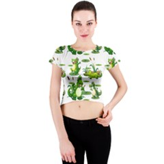 Crocodiles In The Pond Crew Neck Crop Top