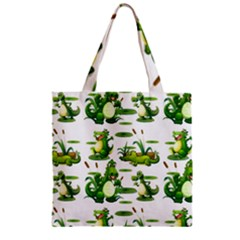 Crocodiles In The Pond Zipper Grocery Tote Bag by allthingseveryday
