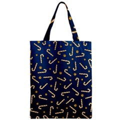 Golden Candycane Blue Zipper Classic Tote Bag by jumpercat