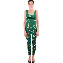 Golden Candycane Green Onepiece Catsuit