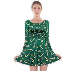 Golden Candycane Green Long Sleeve Skater Dress