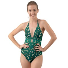 Golden Candycane Green Halter Cut Out One Piece Swimsuit