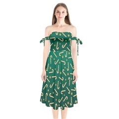Golden Candycane Green Shoulder Tie Bardot Midi Dress