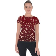 Golden Candycane Red Short Sleeve Sports Top