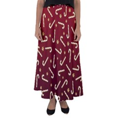 Golden Candycane Red Flared Maxi Skirt