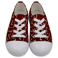 Golden Candycane Red Kids  Low Top Canvas Sneakers