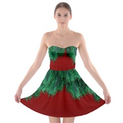Xmas Tree Strapless Bra Top Dress