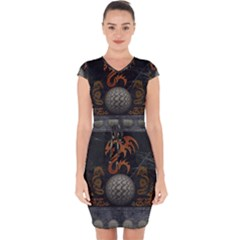 Awesome Tribal Dragon Made Of Metal Capsleeve Drawstring Dress