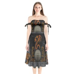 Awesome Tribal Dragon Made Of Metal Shoulder Tie Bardot Midi Dress by FantasyWorld7