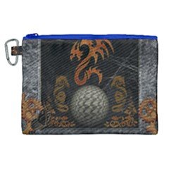 Awesome Tribal Dragon Made Of Metal Canvas Cosmetic Bag (xl) by FantasyWorld7
