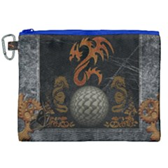 Awesome Tribal Dragon Made Of Metal Canvas Cosmetic Bag (xxl) by FantasyWorld7