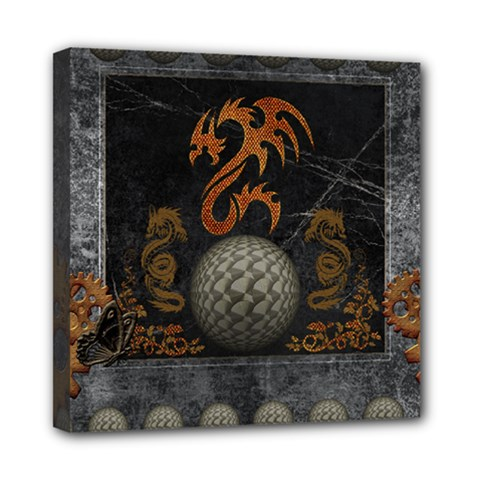 Awesome Tribal Dragon Made Of Metal Mini Canvas 8  X 8  by FantasyWorld7